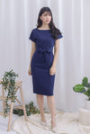 Deolinda Boat Neck Obi Sash Dress In Navy Blue