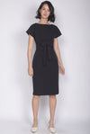 Deolinda Boat Neck Obi Sash Dress In Black