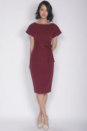 Deolinda Boat Neck Obi Sash Dress In Wine Red