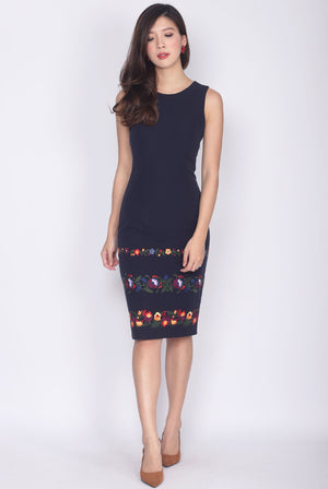 Desalin Embro Pencil Dress In Navy Blue