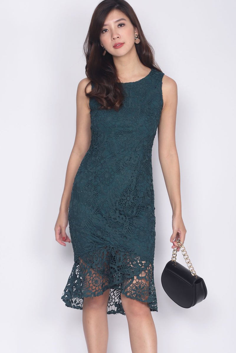 Destinie Crochet Fishtail Dress In Forest Green