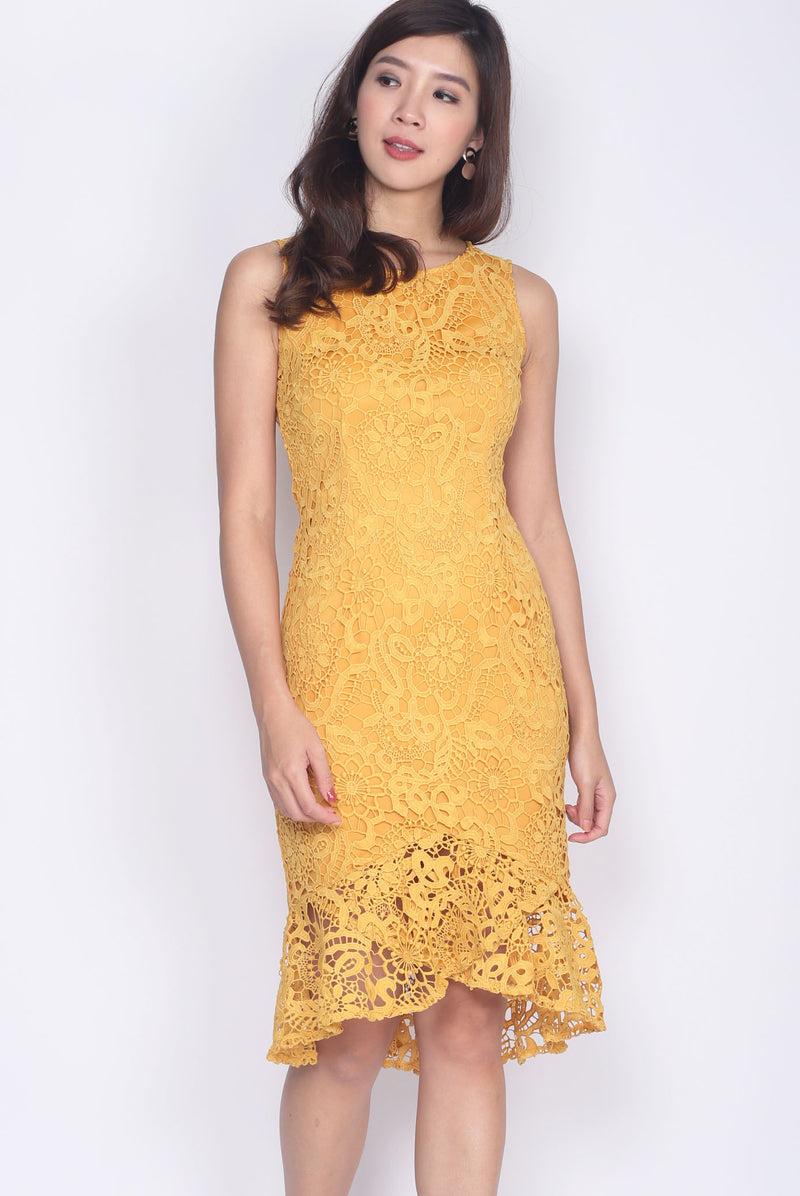 Destinie Crochet Fishtail Dress In Mustard
