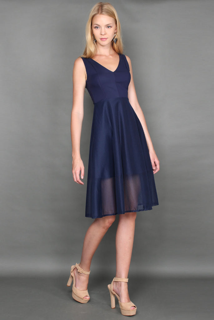 Destiny Mesh Midi Dress In Navy Blue