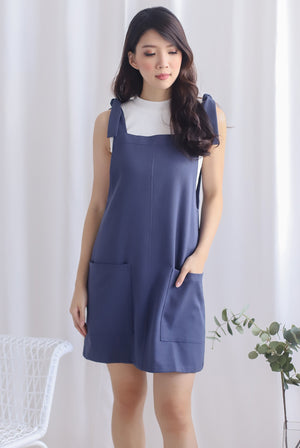 Deyna Pinafore Dress In Blue