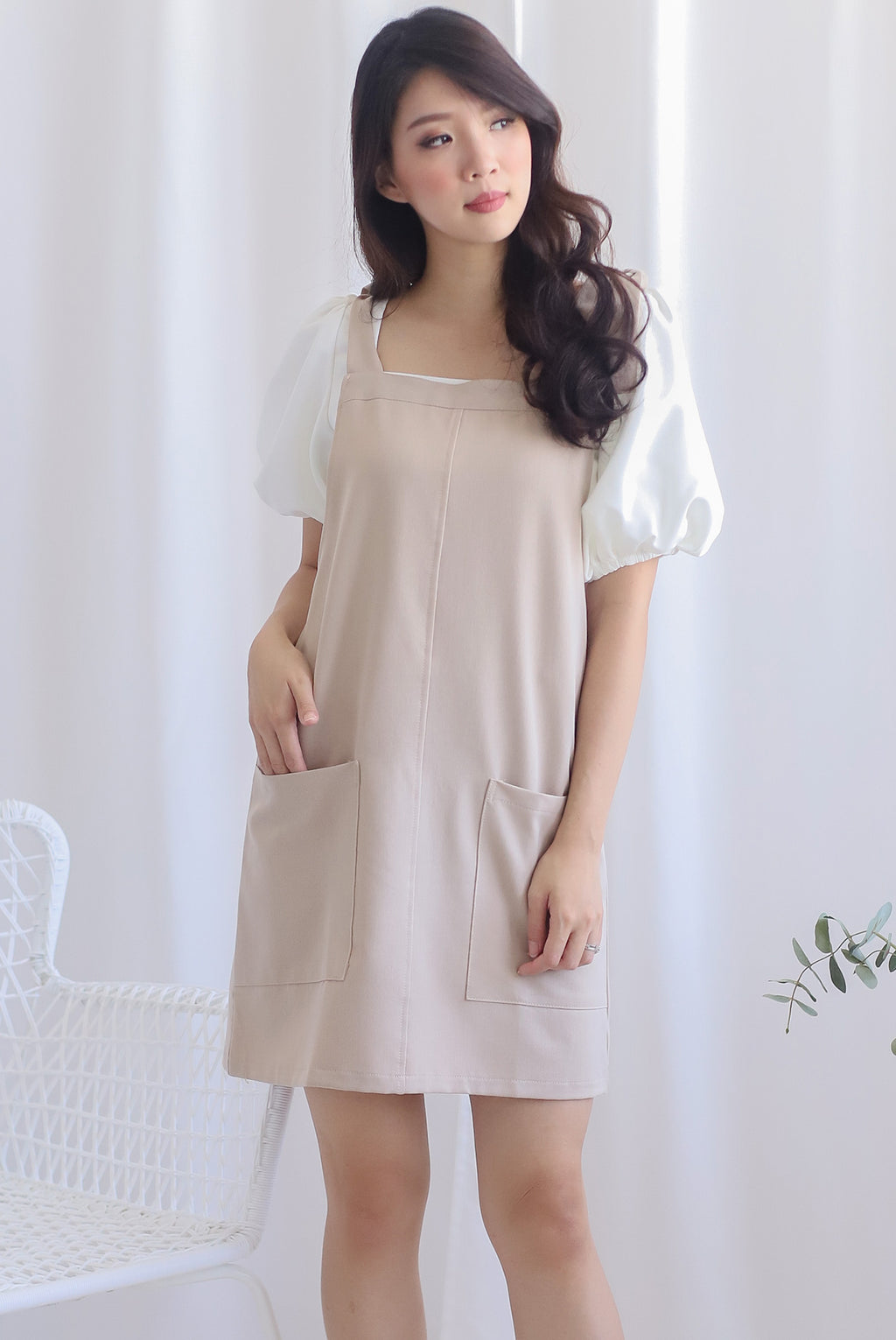 Deyna Pinafore Dress In Oats