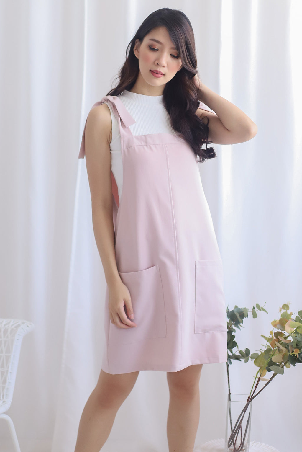 Deyna Pinafore Dress In Pink