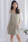 Deyna Pinafore Dress In Sage