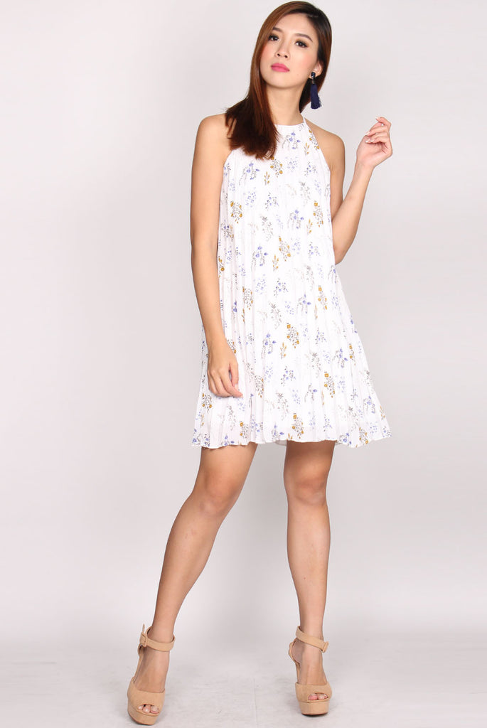 Diana Floral Pleat Trapeze Dress In White