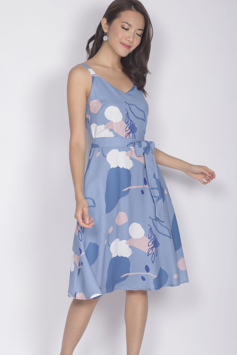 Dido Abstract Sprag Flare Dress In Blue