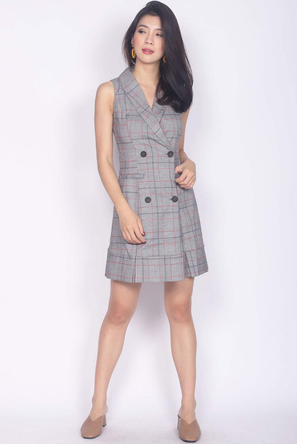 *Restock* Dierdre Vest Pleated Hem Dress In Plaids