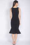 Dinorah Boat Neck Mermaid Dress In Black