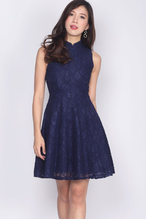 Dionne Lace Removable Cheong Sam Collar Dress In Navy Blue