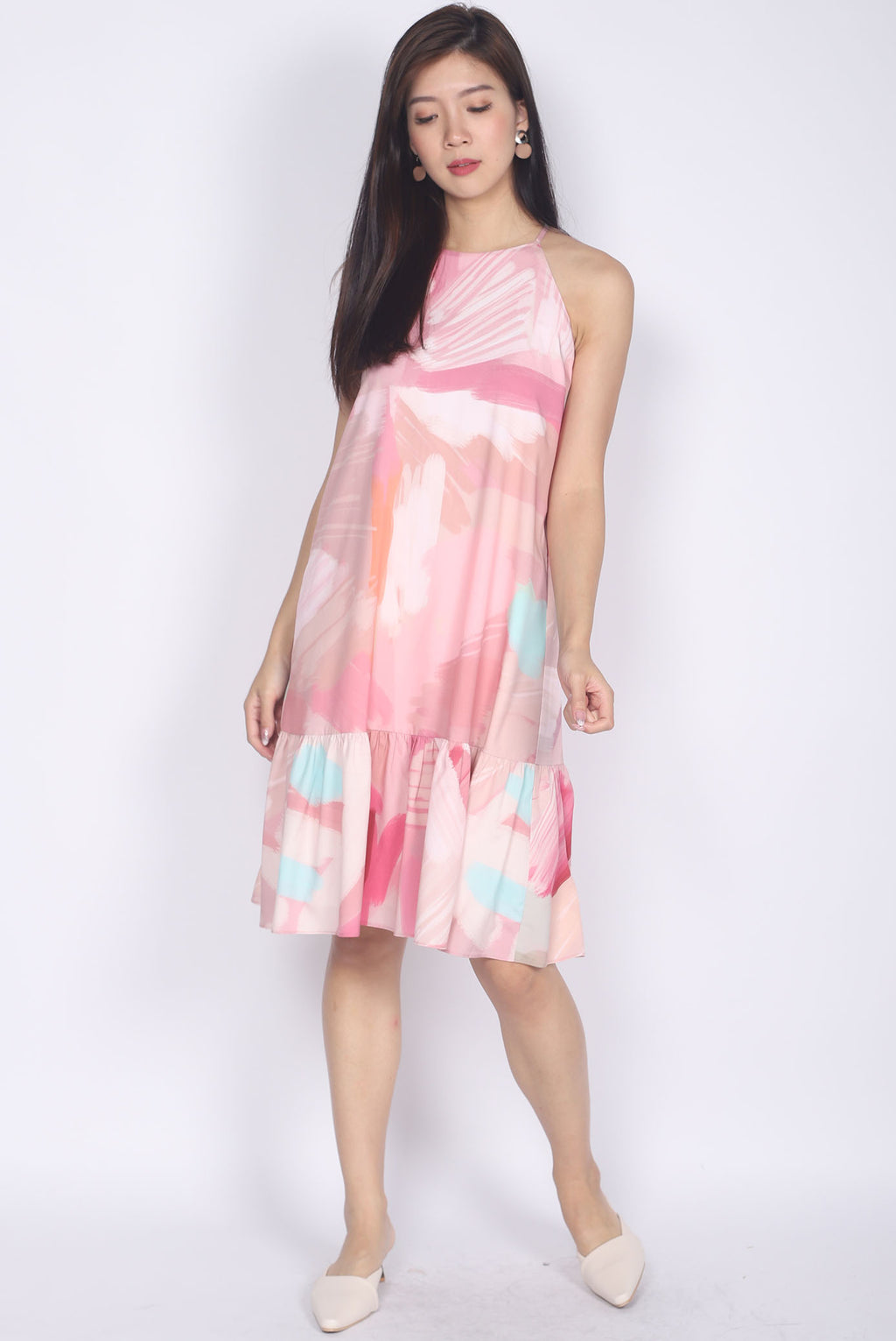 Disa Pink Abstract Halter Dress