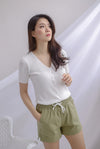 Dollie Ribbed Buttons Sleeved Top In White