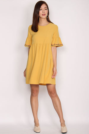Donatello Embriodery Bell Sleeve Dress In Marigold
