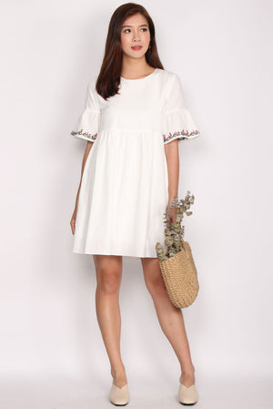 Donatello Embriodery Bell Sleeve Dress In White