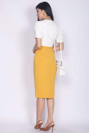 Donnelly Colour Block Sleeved Pencil Dress In White/Mustard
