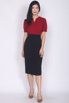 Donnelly Colour Block Sleeved Pencil Dress In Wine/Black