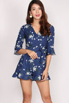 Dorika Bell Sleeve Wrap Romper In Navy Blue