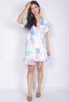 Dorine Abstract Ladder Sleeve Dress In White