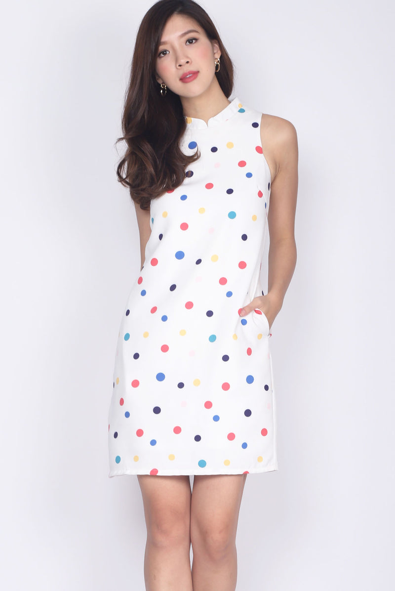 Dotty Removable Cheong Sam Collar Dress
