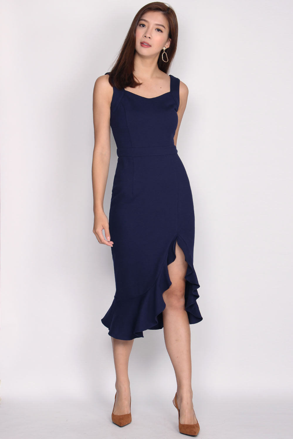 *Restock* Premium* Doutzen Slit Mermaid Dress In Navy Blue