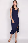 *Premium* Doutzen Slit Mermaid Dress In Navy Blue