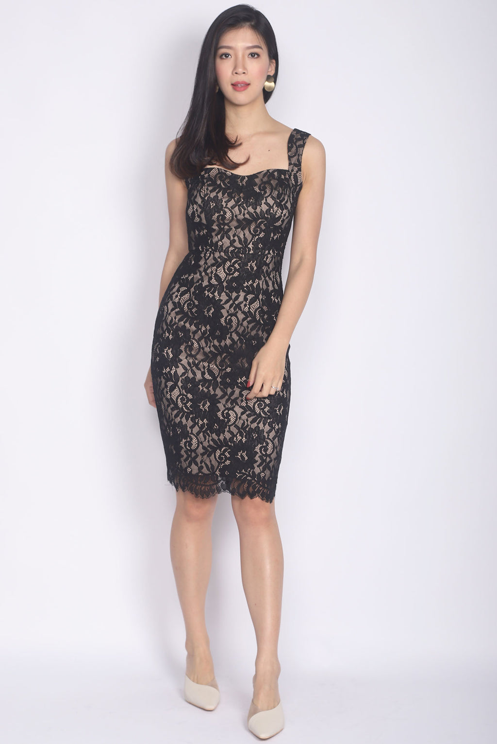 *Premium* Drametha Lace Pencil Dress In Black