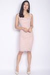 *Premium* Drametha Lace Pencil Dress In Blush