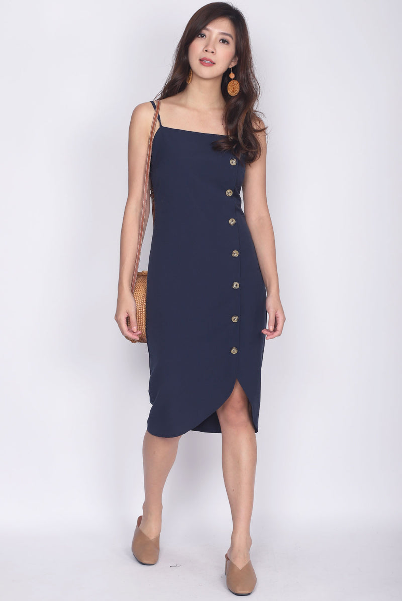 Driana Buttons Down Wavy Hem Dress In Navy Blue
