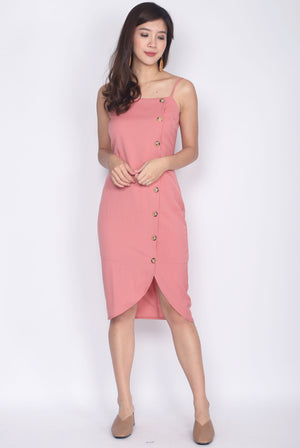 Driana Buttons Down Wavy Hem Dress In Pink