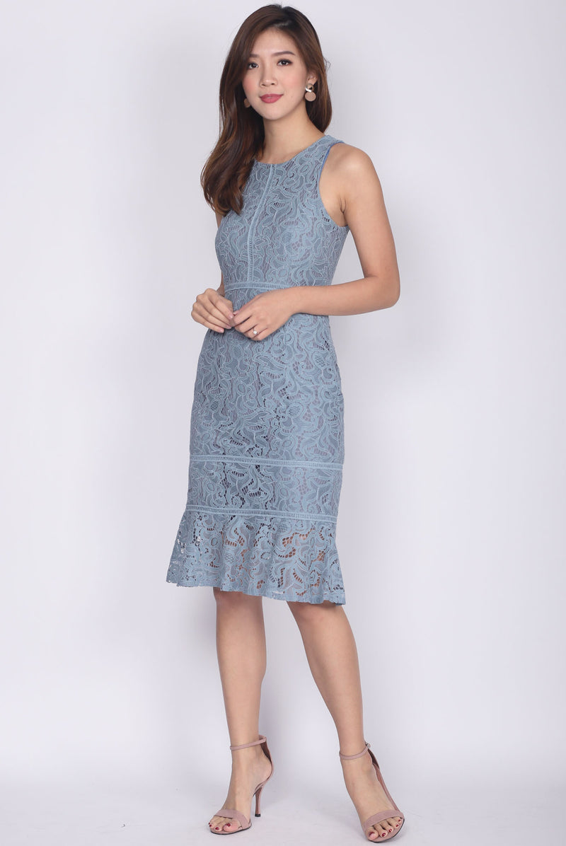 *BACKORDER* Drusilla Lace Mermaid Dress In Ash Blue