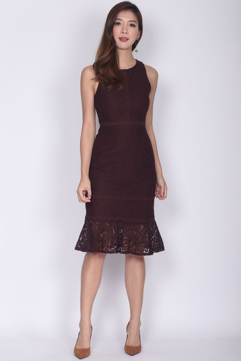 Drusilla Lace Mermaid Dress In Deep Wine