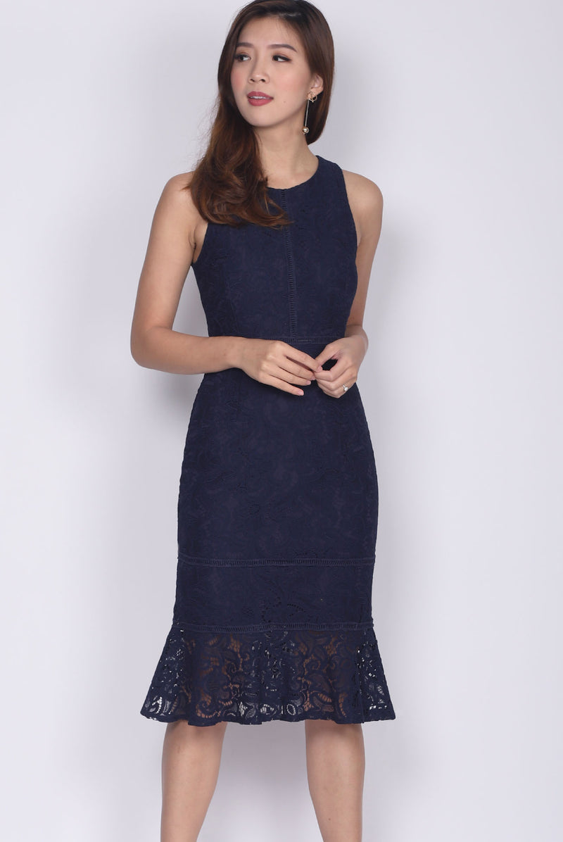 Drusilla Lace Mermaid Dress In Navy Blue