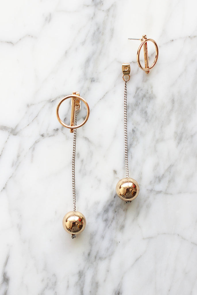 *BACKORDER* Gold Ball Drop Earrings