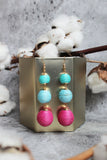 Bailee Pom Pom Earrings In Aqua Rose