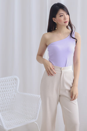 Eathelyn Ribbed Toga Top In Lilac