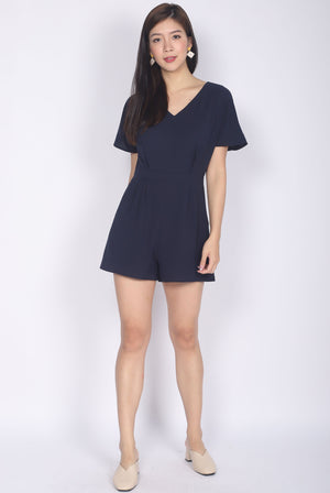 Eaveen Flare Sleeve Romper In Navy Blue