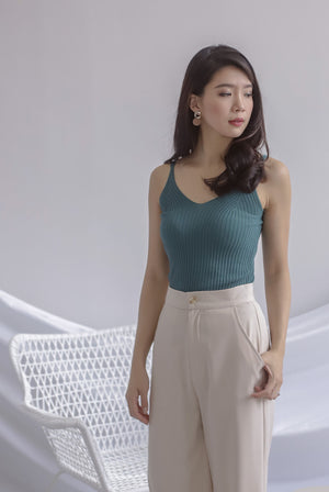 *Restocked* Ebru Knit Cami Top In Teal Green