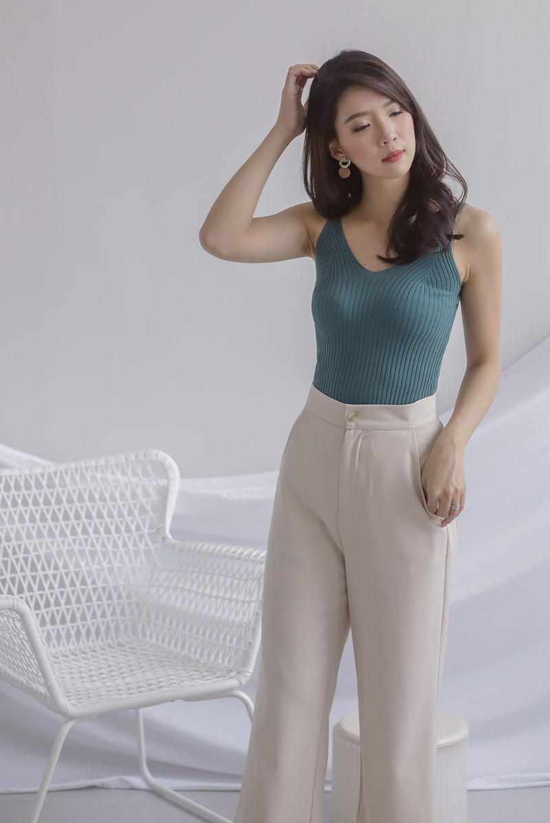 *Backorder II* Ebru Knit Cami Top In Teal Green
