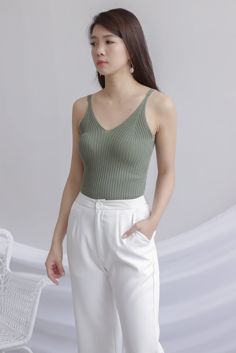 *Restocked* Ebru Knit Camisole Top In Olive