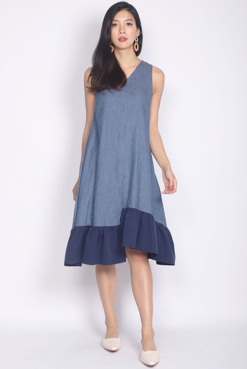 Edelweiss Step Hem Midi Dress In Navy Stripes