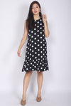 Eden Polkadot Drop Hem Dress In Black