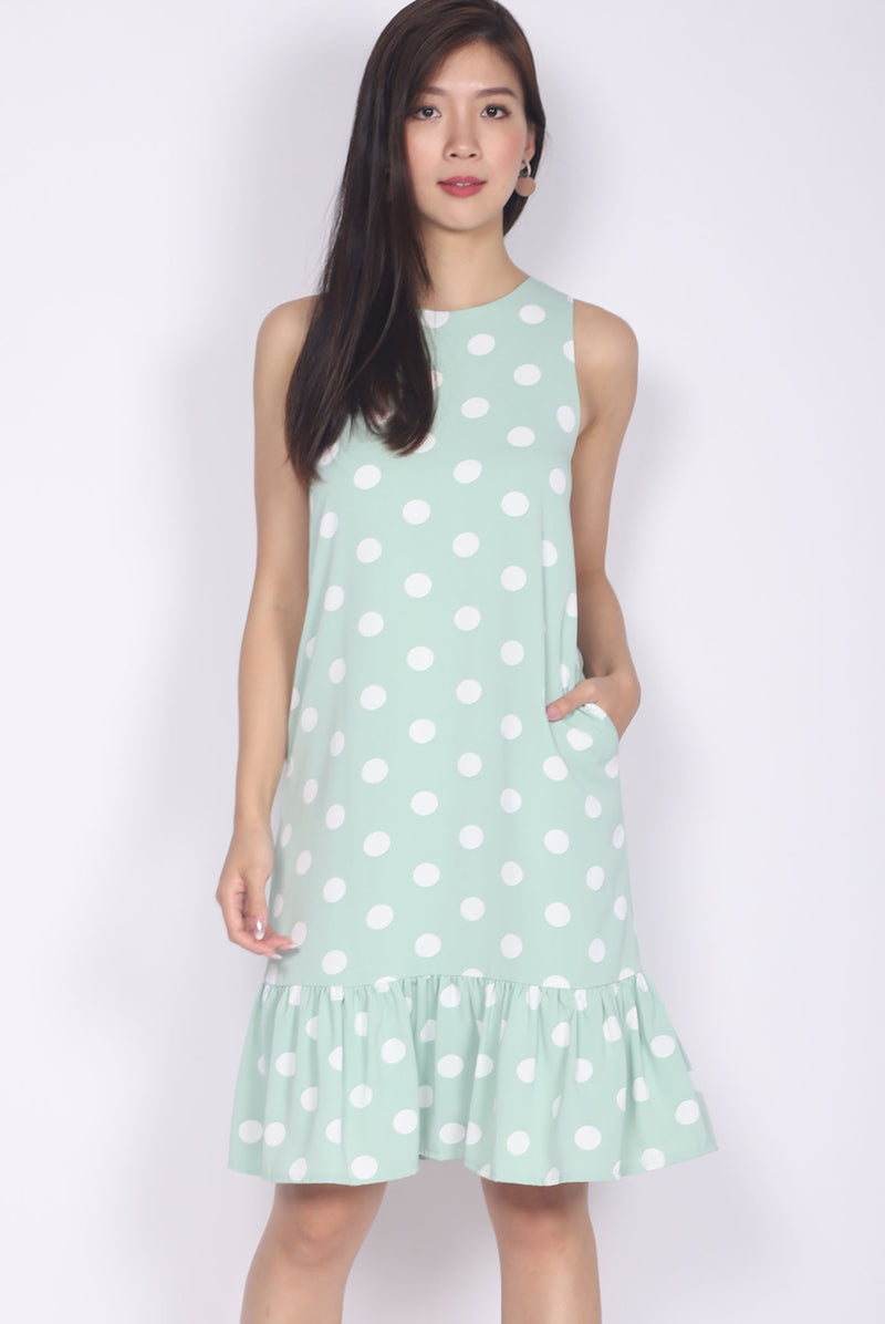 *Restocked* Eden Polkadot Drop Hem Dress In Mint Green