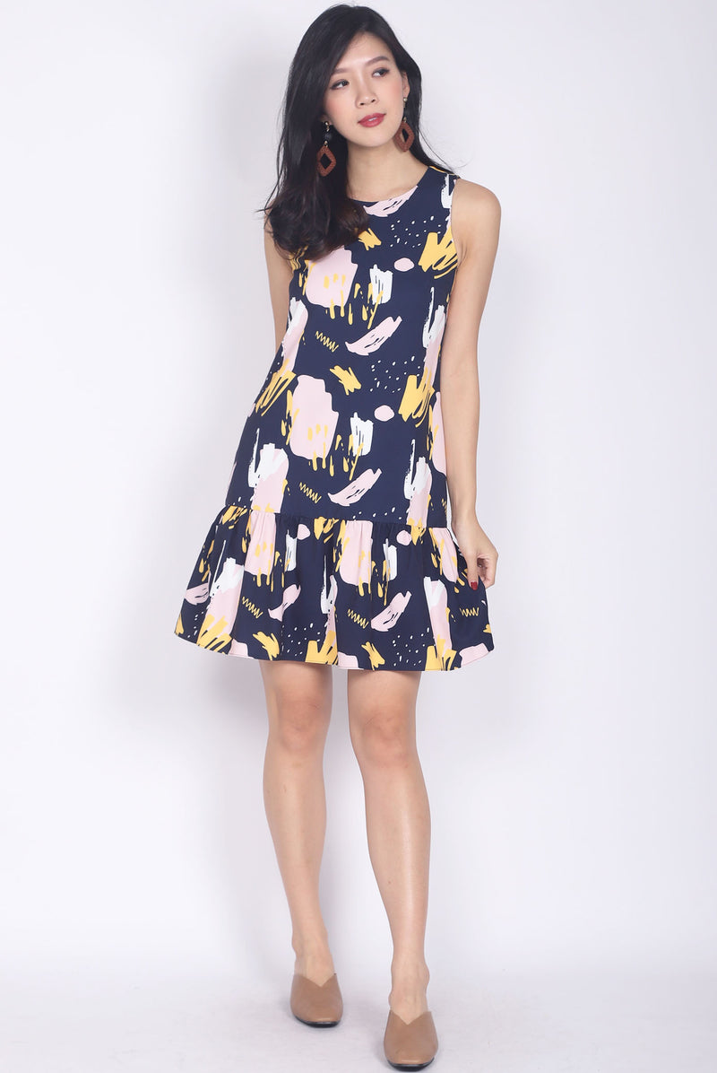 Edina Colourful Paint Drop Waist Dress In Black