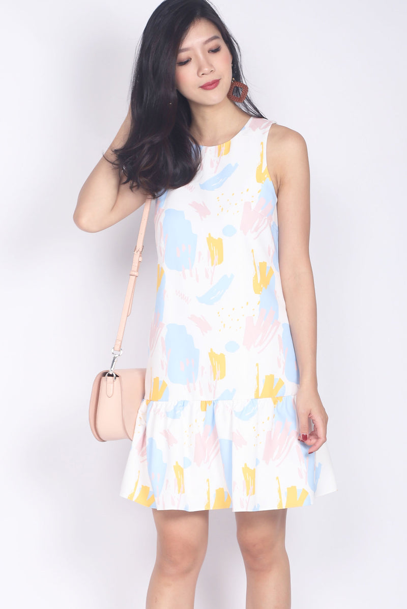Edina Colourful Paint Drop Waist Dress In White
