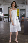Editta Eyelet Floral Spag Dress In White