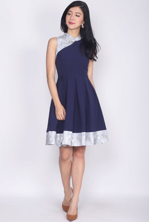 Edlyn Floral Block Cheong Sam Dress In Navy Blue