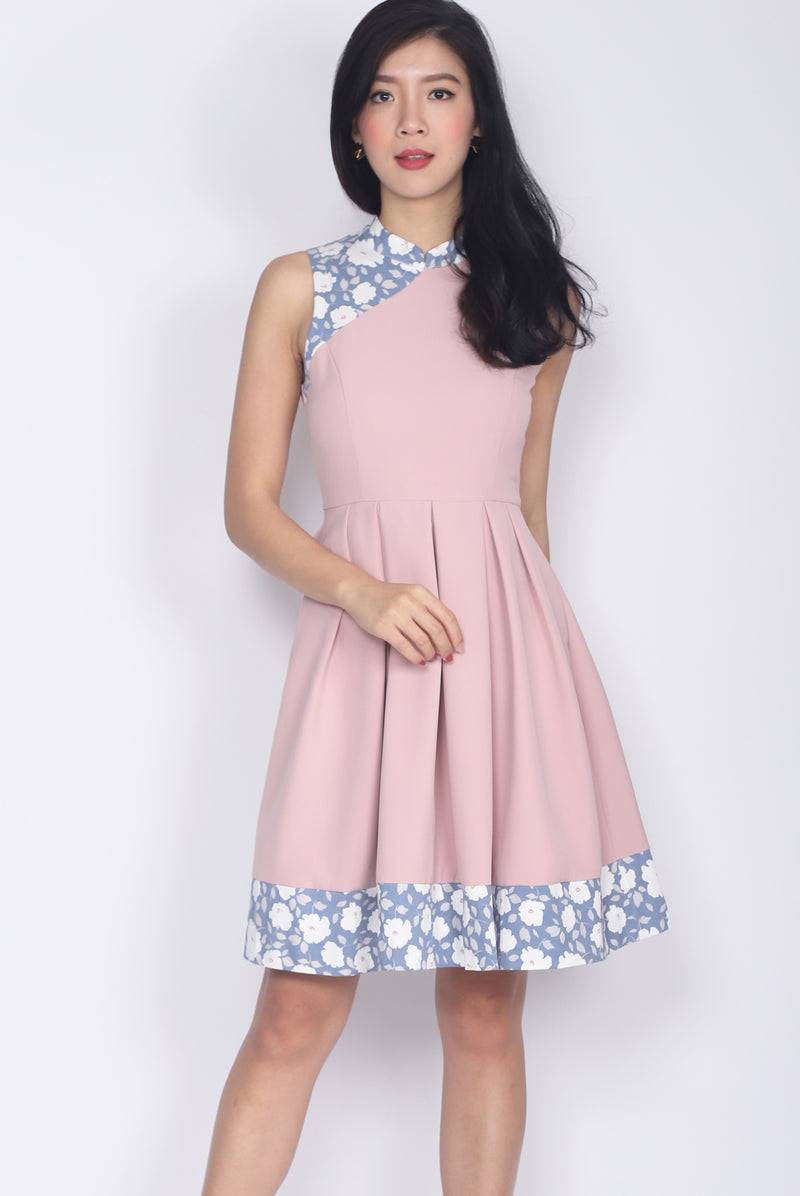 Edlyn Floral Block Cheong Sam Dress In Blush