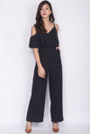 Edmonda Cold Shoulder Jumpsuit In Black